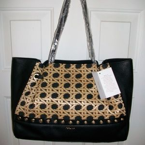 NWT Perlina Black Leather Cleo Carry-All Tote Bag